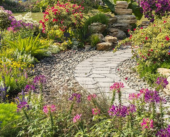 Garden pathway with colorful flowers